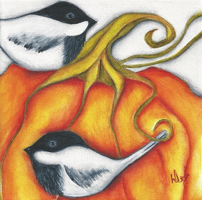 Art: PUMPKIN CHICKADEES by Artist Deb Harvey