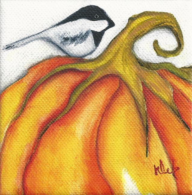 Art: Pumpkin Chickadee II by Artist Deb Harvey