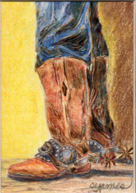 Art: Boots Spurs Cowboy by Artist Shirley James