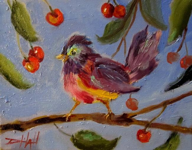 Art: Chubby Bird and Cherries by Artist Delilah Smith