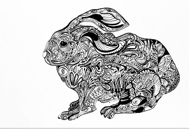 Art: Tatted Rabbit by Artist Alma Lee