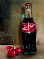 Art: Vintage Coke Bottle and Cherries by Artist Christine E. S. Code ~CES~