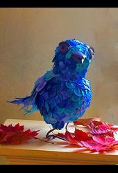Art: Shamas, Quirky Bluebird by Artist Alma Lee