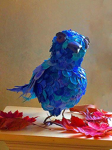 Art: Shamas, Quirky Bluebird by Artist Alma Lee
