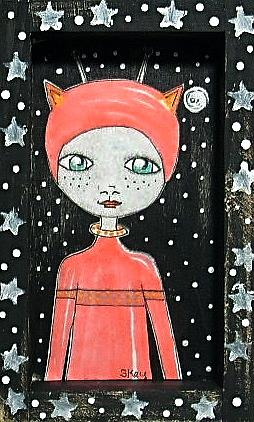Art: Stars at Night - Alien Shadowbox by Artist Sherry Key