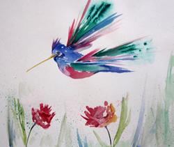 Art: Hummingbird and Flowers by Artist Delilah Smith