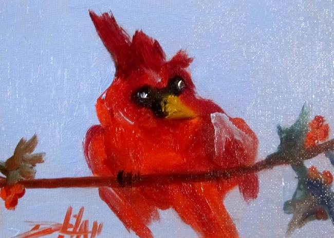 Art: Cardinal and Holly by Artist Delilah Smith