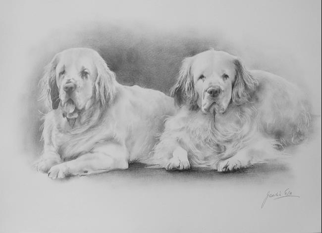 Art: Two Dogs by Artist Ewa Kienko Gawlik