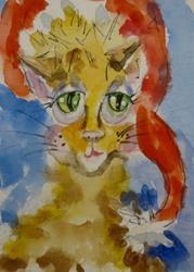 Art: Christmas Cat by Artist Delilah Smith