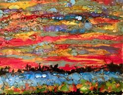 Art: Encaustic Landscape II by Artist Ulrike 'Ricky' Martin