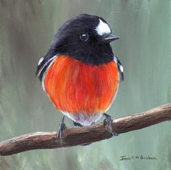 Art: Scarlet Robin No 4 by Artist Janet M Graham