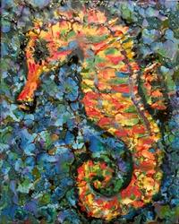 Art: Encaustic Seahorse by Artist Ulrike 'Ricky' Martin