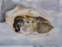 Art: Cat in a Sack by Artist Delilah Smith