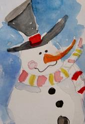 Art: Snow MAn With Carrot Nose by Artist Delilah Smith