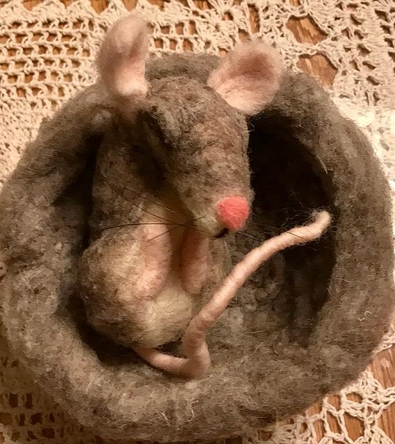 Art: Needle Felted Sleeping Baby Mouse by Artist Ulrike 'Ricky' Martin