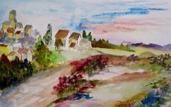 Art: Hill Side Village by Artist Delilah Smith