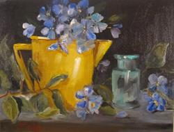 Art: Yellow Can and Flowers-sold by Artist Delilah Smith