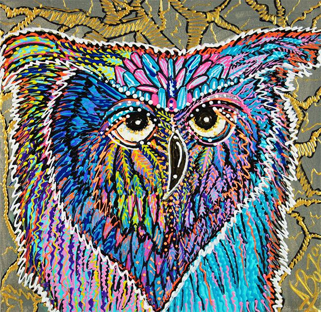 Art: Owl Power by Artist Laura Barbosa