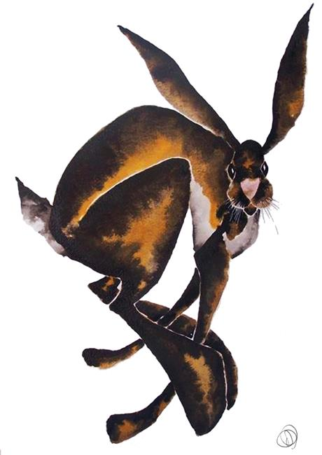 Art: HARES LOOKING AT YOU KID h984 by Artist Dawn Barker