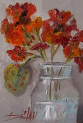Art: Ball Jar and Geraniums by Artist Delilah Smith