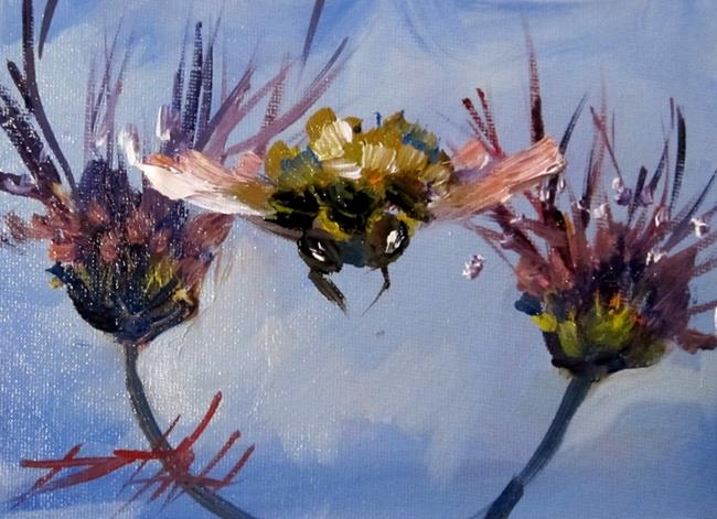 Art: Bee and Flowers-sold by Artist Delilah Smith