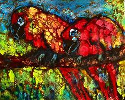 Art: Parrots by Artist Ulrike 'Ricky' Martin