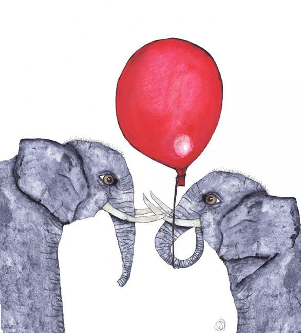 Art: ELEPHANTS IN LOVE e110 by Artist Dawn Barker