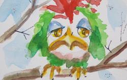 Art: Sad Snow Bird Aceo by Artist Delilah Smith