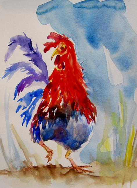 Art: Red Head Rooster by Artist Delilah Smith