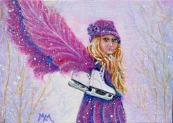 Art: Skatie - A Little Winter Angel  (SOLD) by Artist Monique Morin Matson