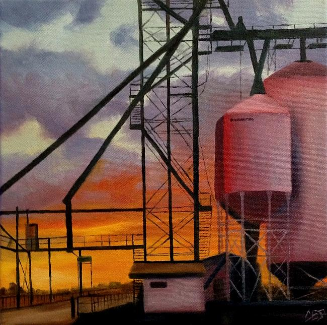 Art: Grain Facility Sunset by Artist Christine E. S. Code ~CES~