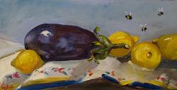 Art: Eggplant and Lemons by Artist Delilah Smith