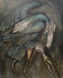 Art: Blue Heron Audubon Study by Artist Chris Jeanguenat