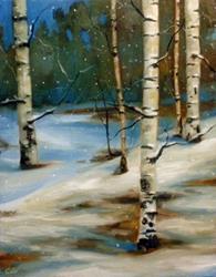 Art: Snowy Night Birch by Artist Christine E. S. Code ~CES~