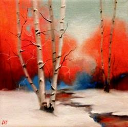 Art: Birch and Distant Maples by Artist Christine E. S. Code ~CES~