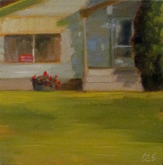 Art: Green House for Sale by Artist Christine E. S. Code ~CES~