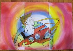 Art: Cosmonaut with Dezik and Tsygan by Artist Paul Lake, Lucky Studios
