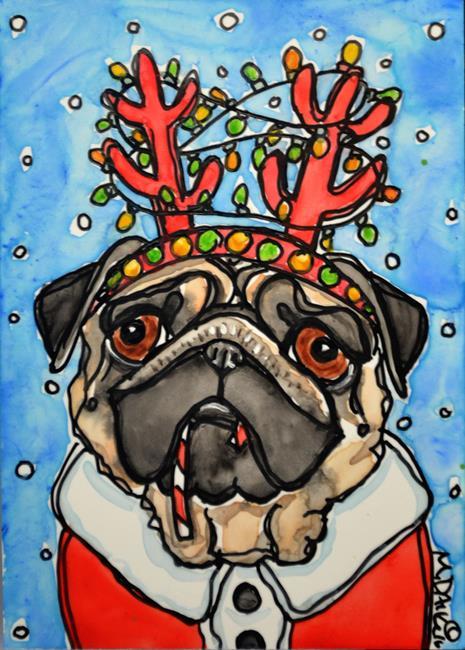 Art: Reindeer Puggie by Artist Melinda Dalke