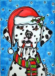 Art: Santa Dal and Candy Cane by Artist Melinda Dalke