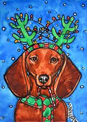Art: Reindeer Doxie by Artist Melinda Dalke