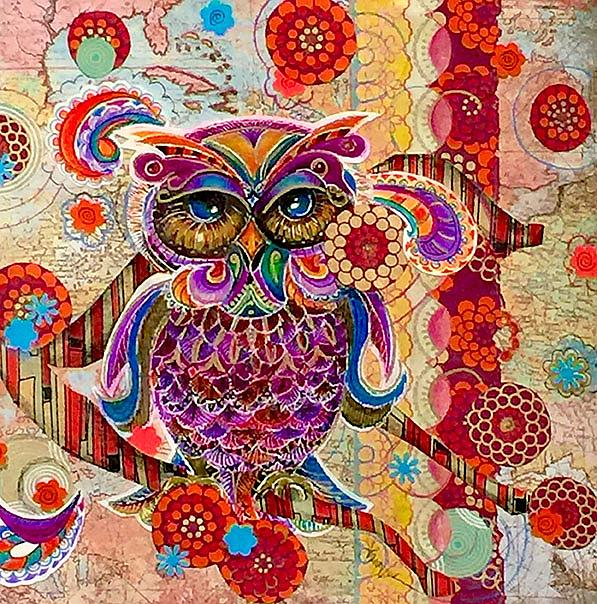 Art: Textured Owl by Artist Alma Lee