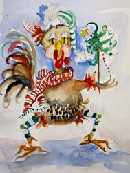Art: Christmas Chicken by Artist Delilah Smith