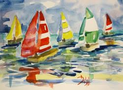 Art: Colorful Sails by Artist Delilah Smith