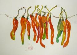 Art: String of Peppers by Artist Delilah Smith