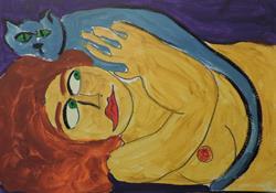 Art: nude with blue cat by Artist Nancy Denommee