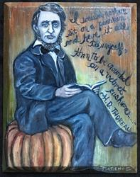 Art: Thoreau, Pumpkin Sitter by Artist Patience