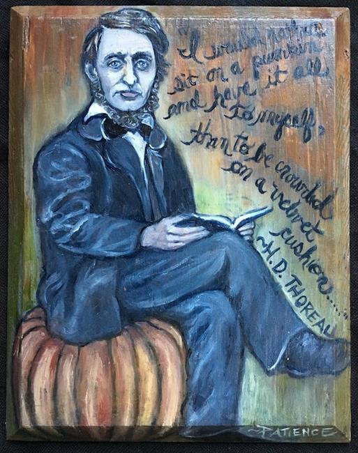 Art: Thoreau, Pumpkin Sitter by Artist Patience