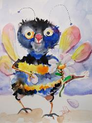 Art: Bumble Bee and Daisy by Artist Delilah Smith