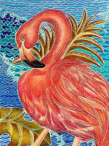 Art: Island Flamingo (SOLD) by Artist Alma Lee