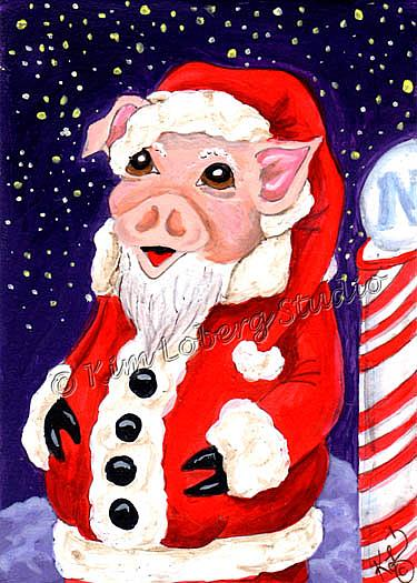 Art: Santa Piggy At the North Pole by Artist Kim Loberg